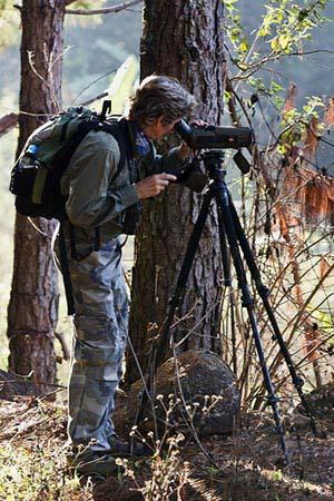 Richard with his spotting scope (Photo: Richard Craik)