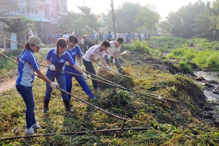 Youth take part in tidying up grass and litter in HCM City's District 8. Experts said that lack of co-operation was hindering the implementation of Law on Environment Protection. — VNA/VNS. (Photo An Hieu)