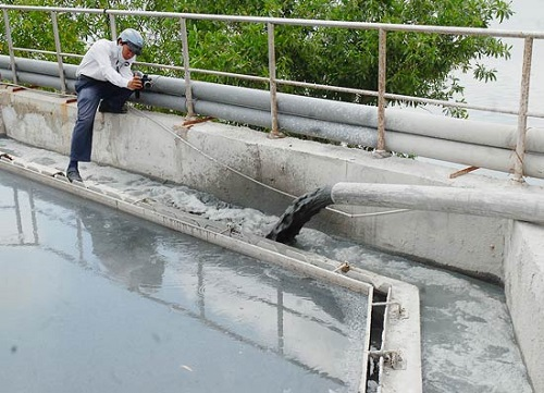 An industrial wastewater container at a business in HCMC (Photo: SGGP)